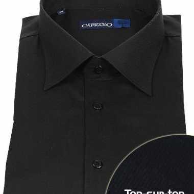 Zwart heren overhemd met extra lange mouwen