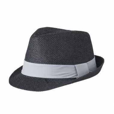 Zwart hoedje met grijze hoedband
