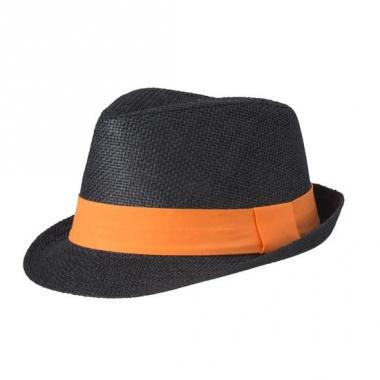 Zwart hoedje met oranje hoedband