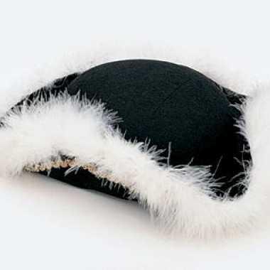 Zwart hoedje met veren voor dames