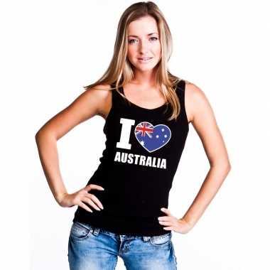 Zwart i love australie fan singlet shirt/ tanktop dames
