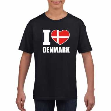Zwart i love denemarken fan shirt kinderen