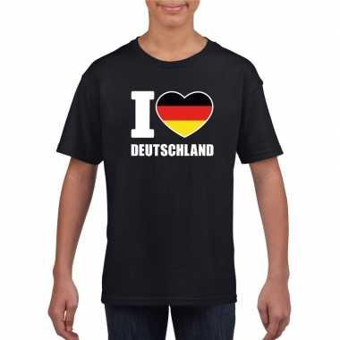 Zwart i love duitsland fan shirt kinderen