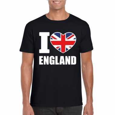 Zwart i love engeland fan shirt heren