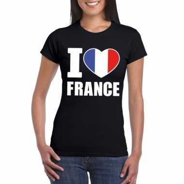 Zwart i love frankrijk fan shirt dames