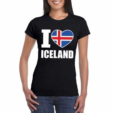 Zwart i love ijsland fan shirt dames