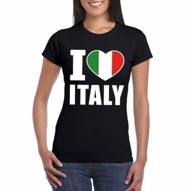 Zwart i love italie fan shirt dames