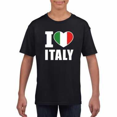 Zwart i love italie fan shirt kinderen
