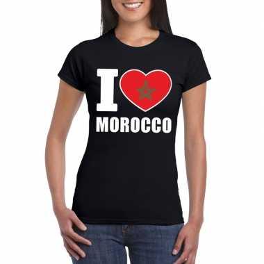 Zwart i love marokko fan shirt dames