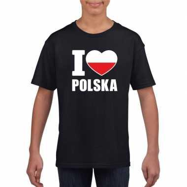 Zwart i love polen fan shirt kinderen