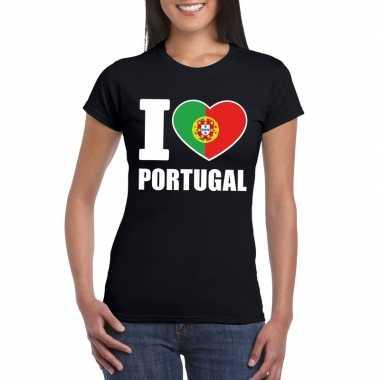 Zwart i love portugal fan shirt dames