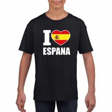 Zwart i love spanje fan shirt kinderen