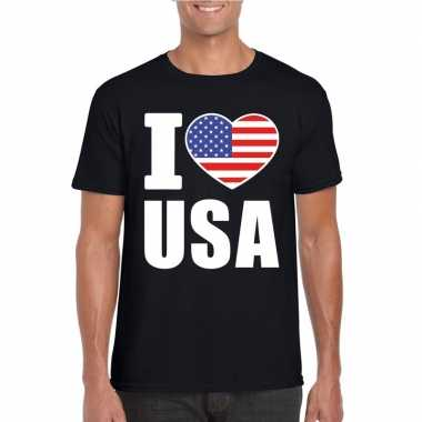 Zwart i love usa - amerika fan shirt heren