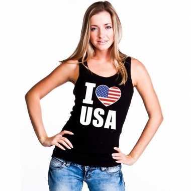 Zwart i love usa/ amerika fan singlet shirt/ tanktop dames