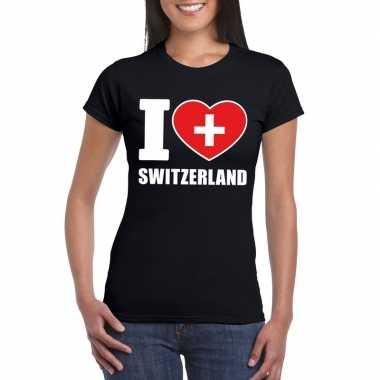 Zwart i love zwitserland fan shirt dames