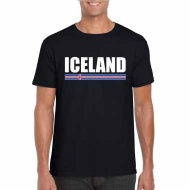 Zwart ijsland supporter t-shirt voor heren