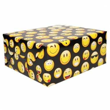 Zwart inpakpapier met emoticons 200 cm