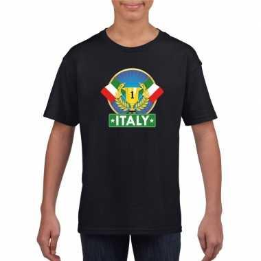 Zwart italie supporter kampioen shirt kinderen