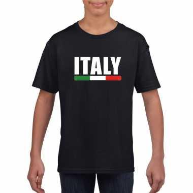 Zwart italie supporter t-shirt voor kinderen