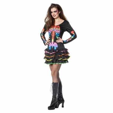 Zwart jurkje met skelet print voor dames