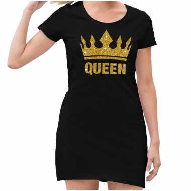 Zwart jurkje voor dames gouden glitter king
