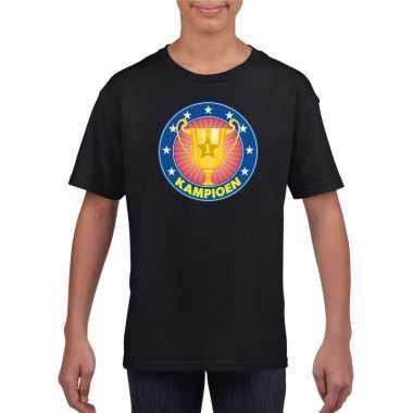 Zwart kampioen shirt voor kinderen