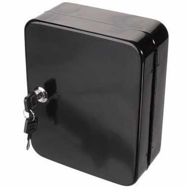 Zwart kastje voor sleutels opbergen 20 x 16 cm