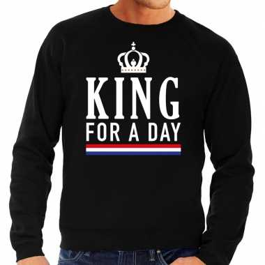 Zwart king for a day sweater voor heren