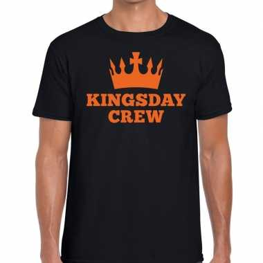 Zwart kingsday crew t-shirt voor heren