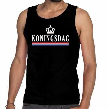 Zwart koningsdag met vlag en kroon tanktop / mouwloos shirt voor