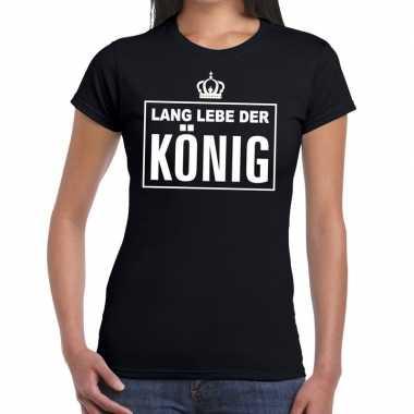 Zwart lang lebe der konig duits t-shirt dames