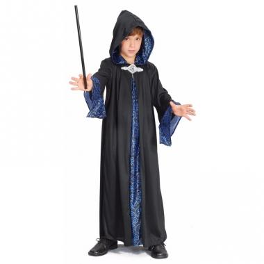 Zwart met blauwe tovenaars mantel kids