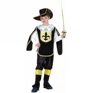 Zwart met goud musketiers kostuum