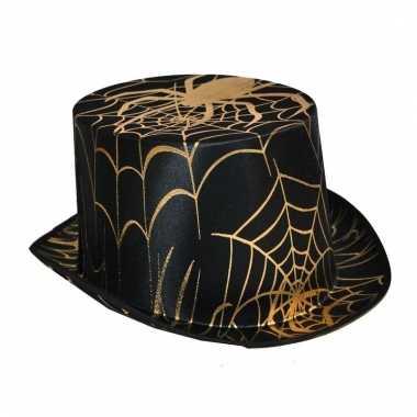Zwart met gouden spinnen hoed