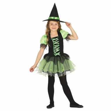 Zwart met groen heksen kostuum voor meisjes
