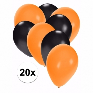 Zwart met oranje feest ballonnen 20x