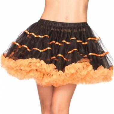 Zwart met oranje onderrok petticoat luxe