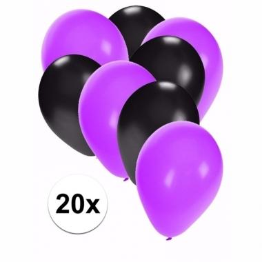Zwart met paarse feest ballonnen 20x