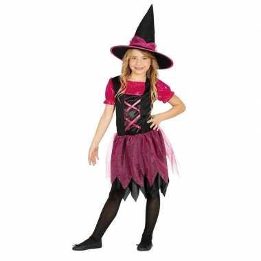 Zwart met roze heksen kostuum voor meisjes