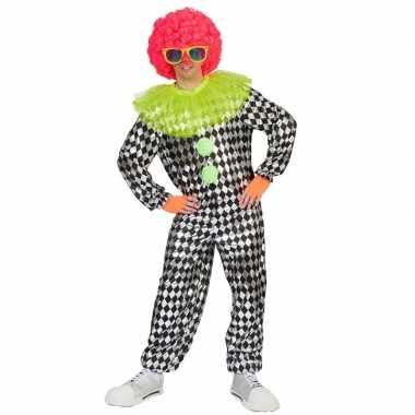 Zwart met zilver clowns kostuum voor heren