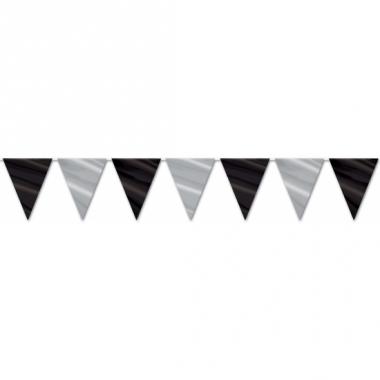 Zwart met zilveren vlaggenlijn