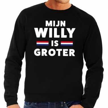 Zwart mijn willy is groter sweater voor heren