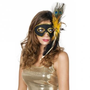 Zwart oogmasker met pauwenveren