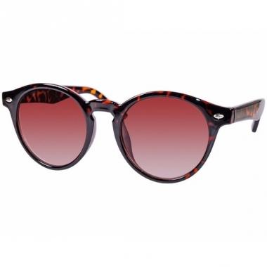Zwart/oranje dames zonnebril ronde glazen