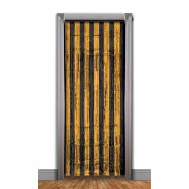 Zwart/oranje deurversiering gordijn 240 cm