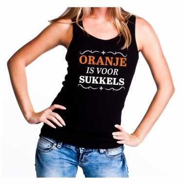 Zwart oranje is voor sukkels mouwloos shirt dames