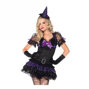 Zwart/paars heksen kostuum