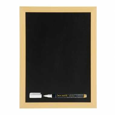 Zwart schrijfbord met teak houten rand 30 x 40 cm