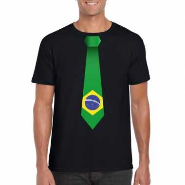 Zwart t-shirt met brazilie vlag stropdas heren