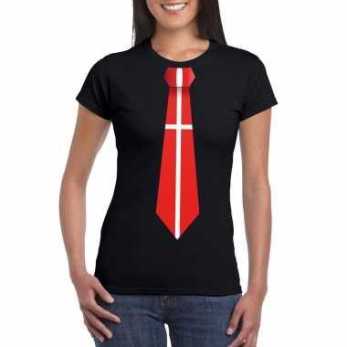 Zwart t-shirt met denemarken vlag stropdas dames